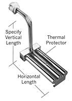 D3L Series, Derated Triple Tube Metal L-Shaped Heaters